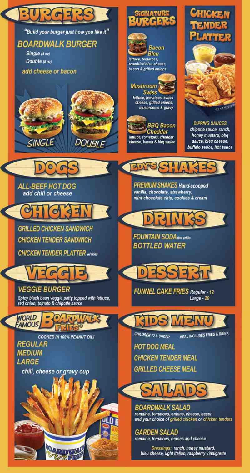 Menu for Boardwalk Fresh Burgers & Fries (The Shops at Boca Grove ...