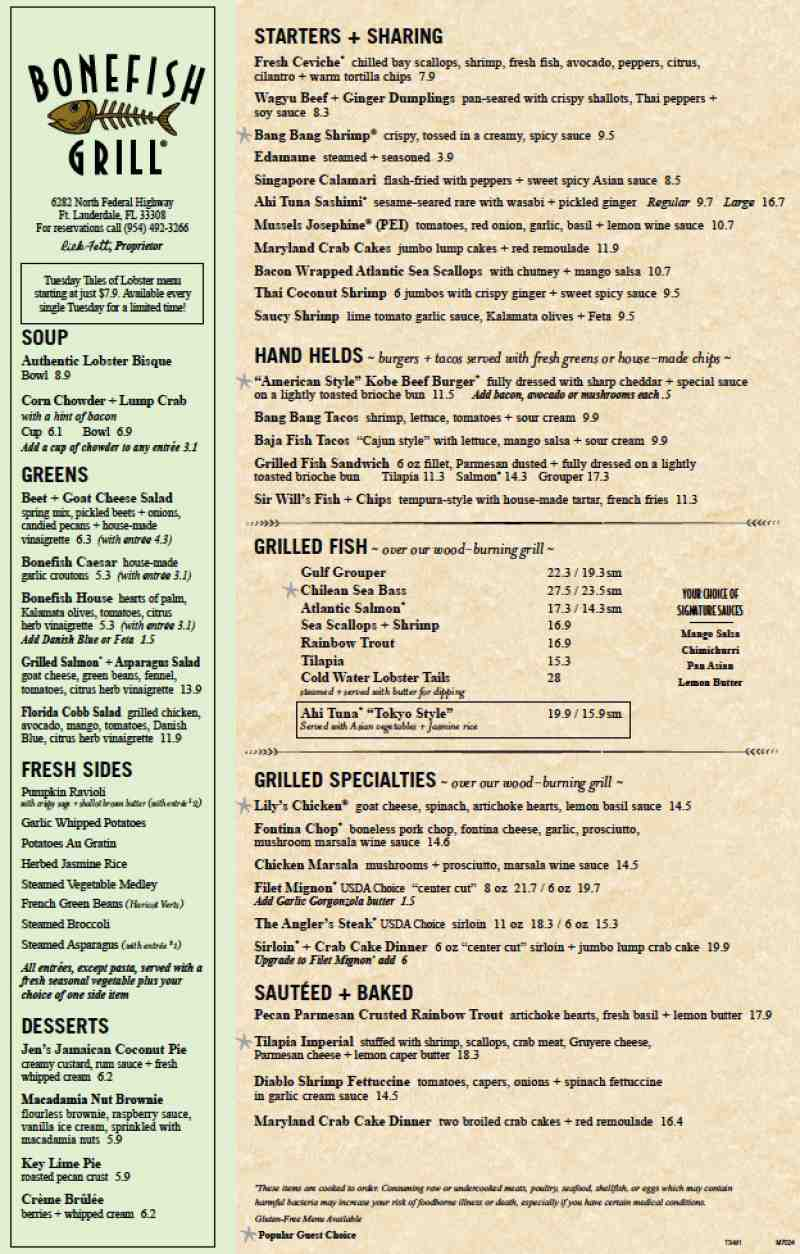 Bonefish Restaurant Menu
