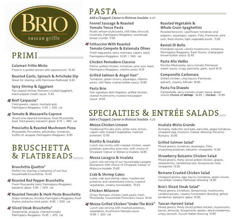 Cafe Brio Valentines Menu