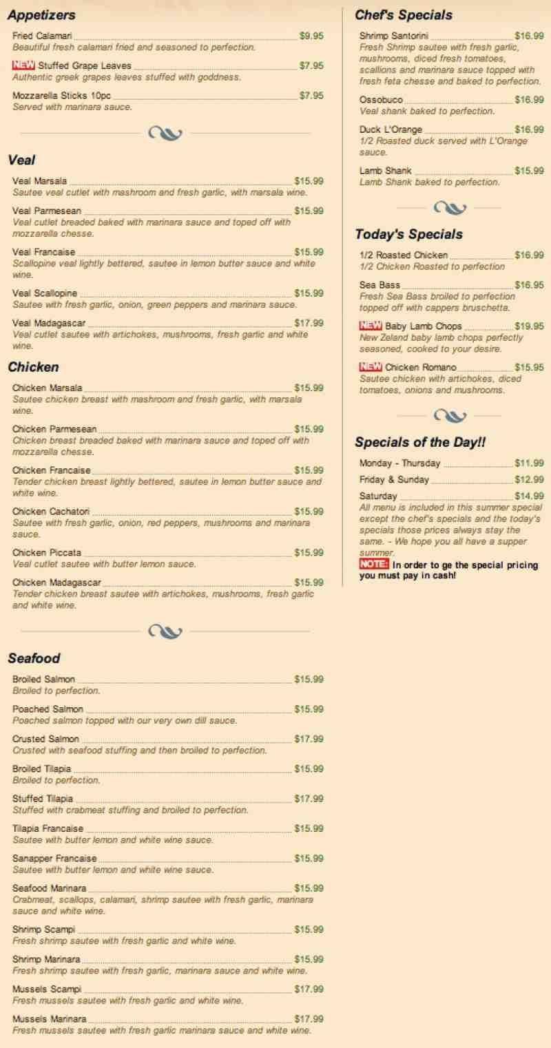 Blue Moon Bagel Cafe Menu