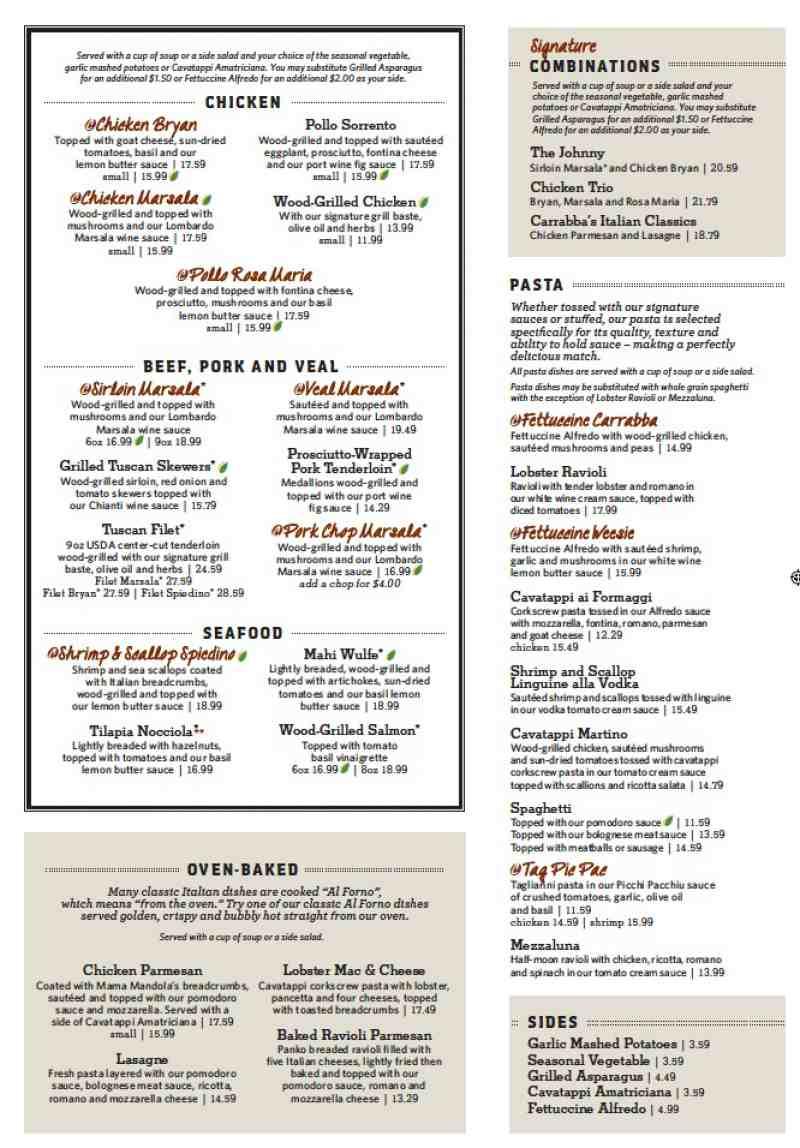 menu for carrabba s italian grill  1299 s federal hwy carrabba's italian grill menu with prices carrabba's italian grill lunch menu prices