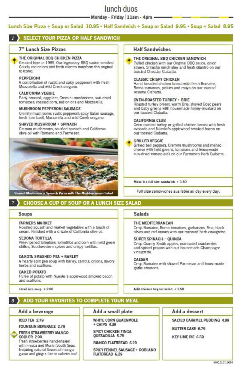 California Pizza Kitchen Lunch Menu Prices