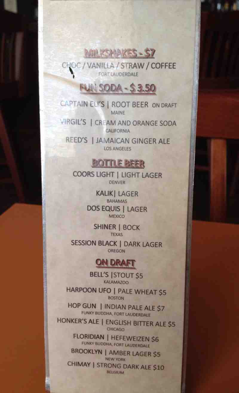 Menu for foxy brown 723 e broward blvd for Blue moon fish company menu
