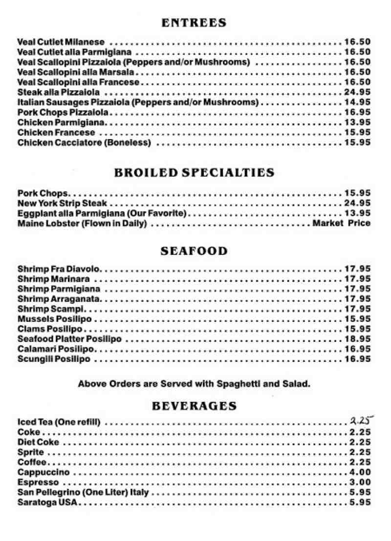 Menu For Lorenzo S Italian Restaurant 1121 S Federal Hwy