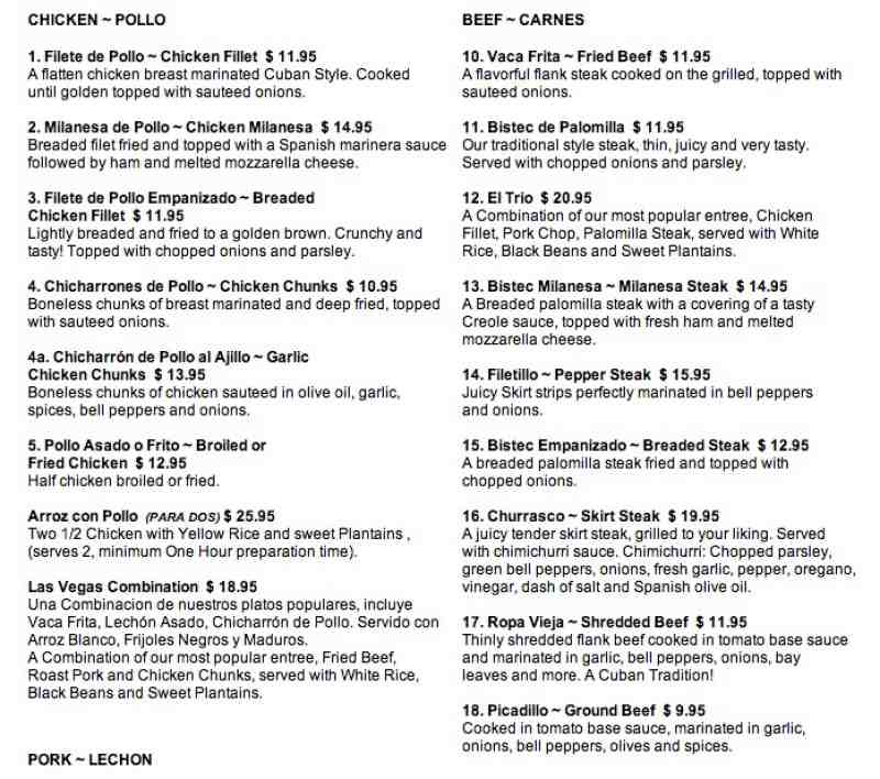 Cuban Food Las Vegas Restaurant Lunch Specials