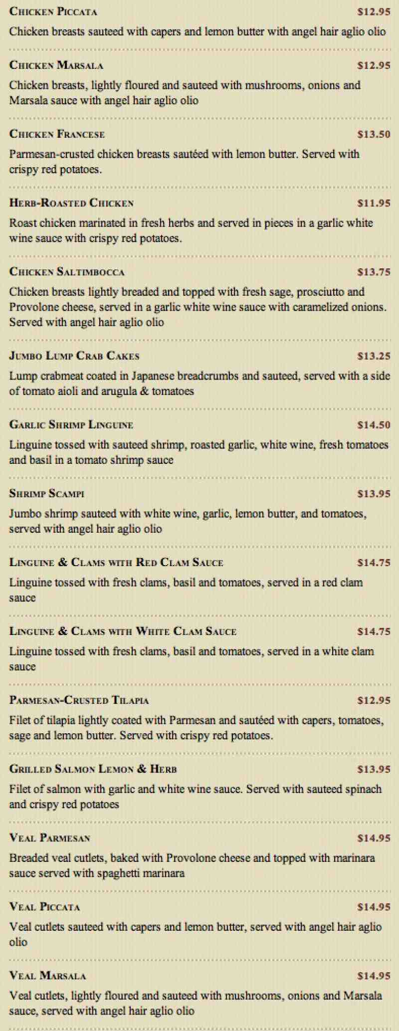 Menu For Maggiano S Little Italy 21090 Saint Andrews Blvd