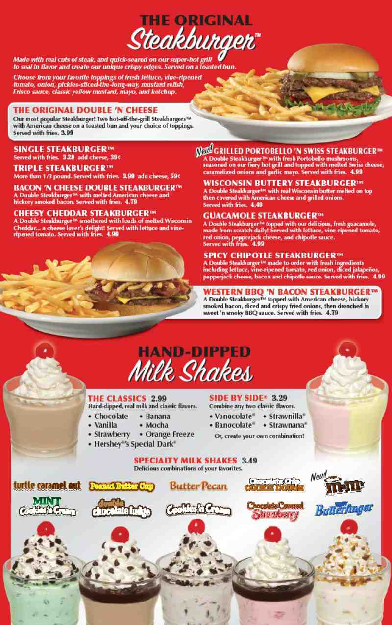 View the entire Steak 'n Shake menu, complete with prices, photos, & reviews of menu items like Portobello & Swiss Steakburger, Root Beer Float, and Side-By-Side™ Milk Shakes/5(54).